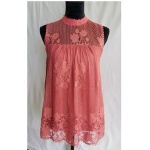 Worthington Pink Elegant Tunic w/ Lace